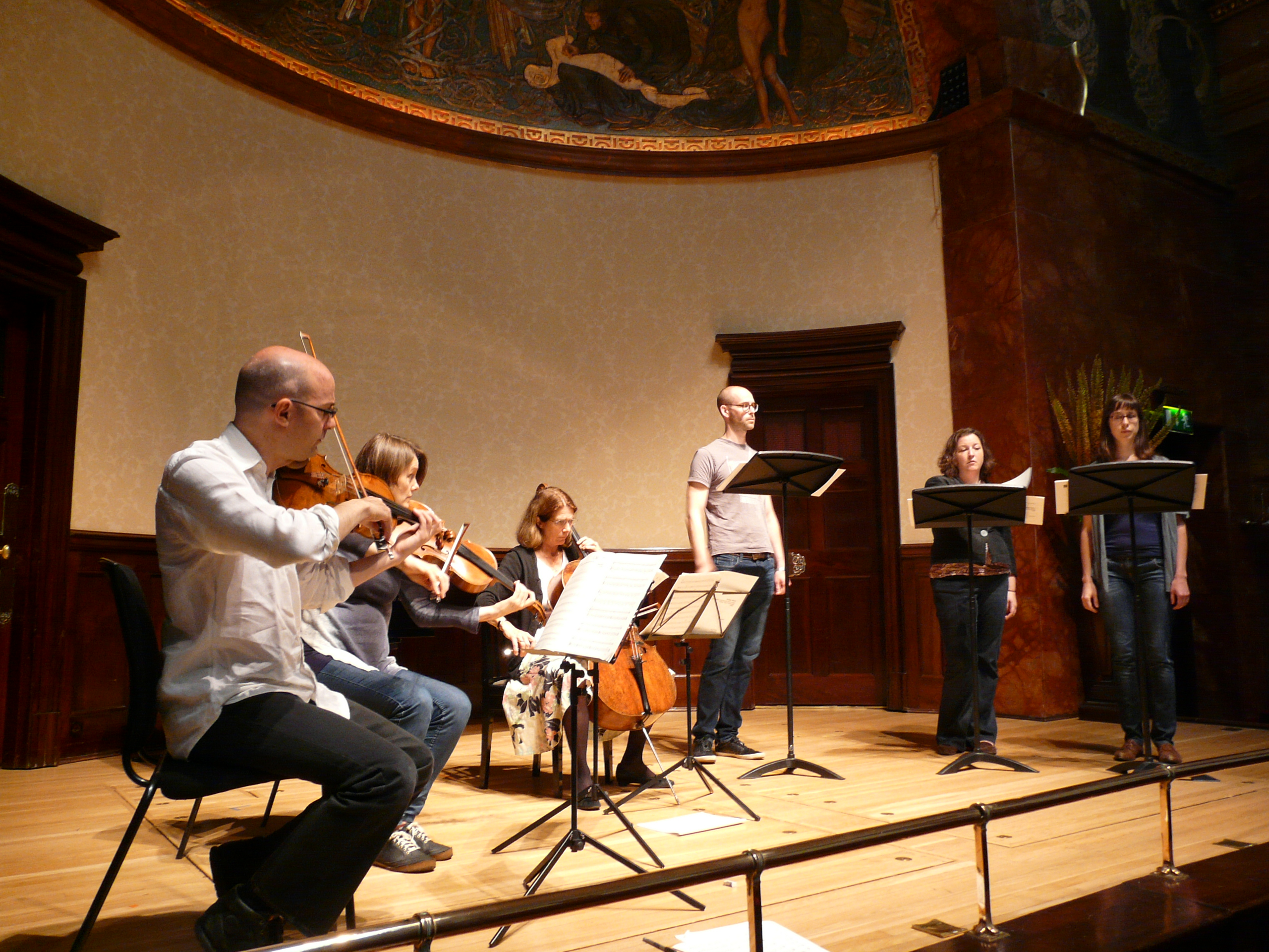 Endymion and EXAUDI rehearsing at Wigmore Hall
